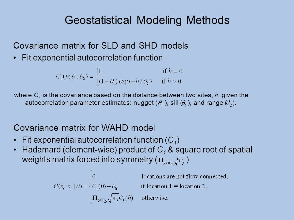 Covariance matrix for SLD and SHD models Fit exponential autocorrelation function where C 1 is the covariance based on the distance between two sites,