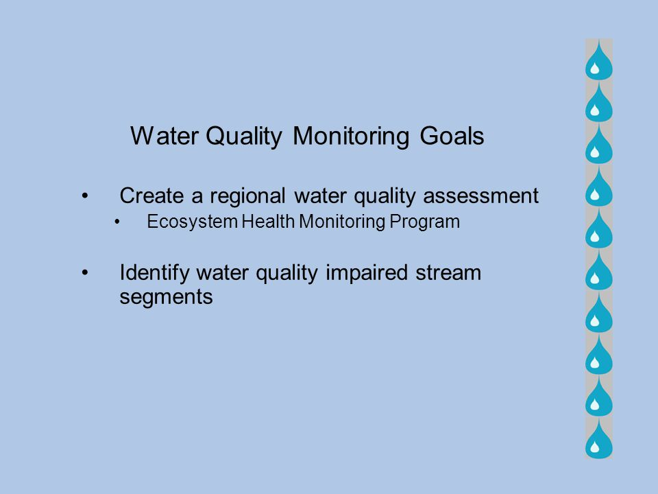 Water Quality Monitoring Goals Create a regional water quality assessment Ecosystem Health Monitoring Program Identify water quality impaired stream s