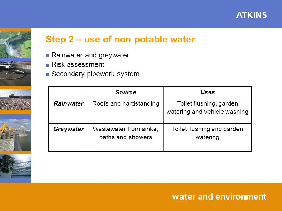 Step 2 – use of non potable water SourceUses RainwaterRoofs and hardstanding Toilet flushing, garden watering and vehicle washing GreywaterWastewater from sinks, baths and showers Toilet flushing and garden watering Rainwater and greywater Risk assessment Secondary pipework system