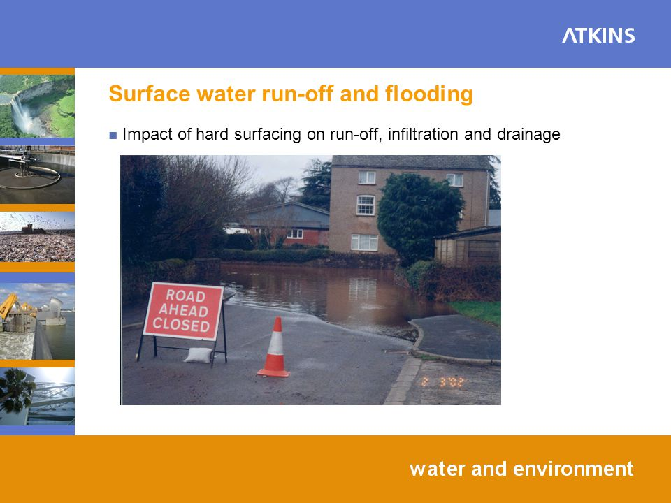 Surface water run-off and flooding Impact of hard surfacing on run-off, infiltration and drainage