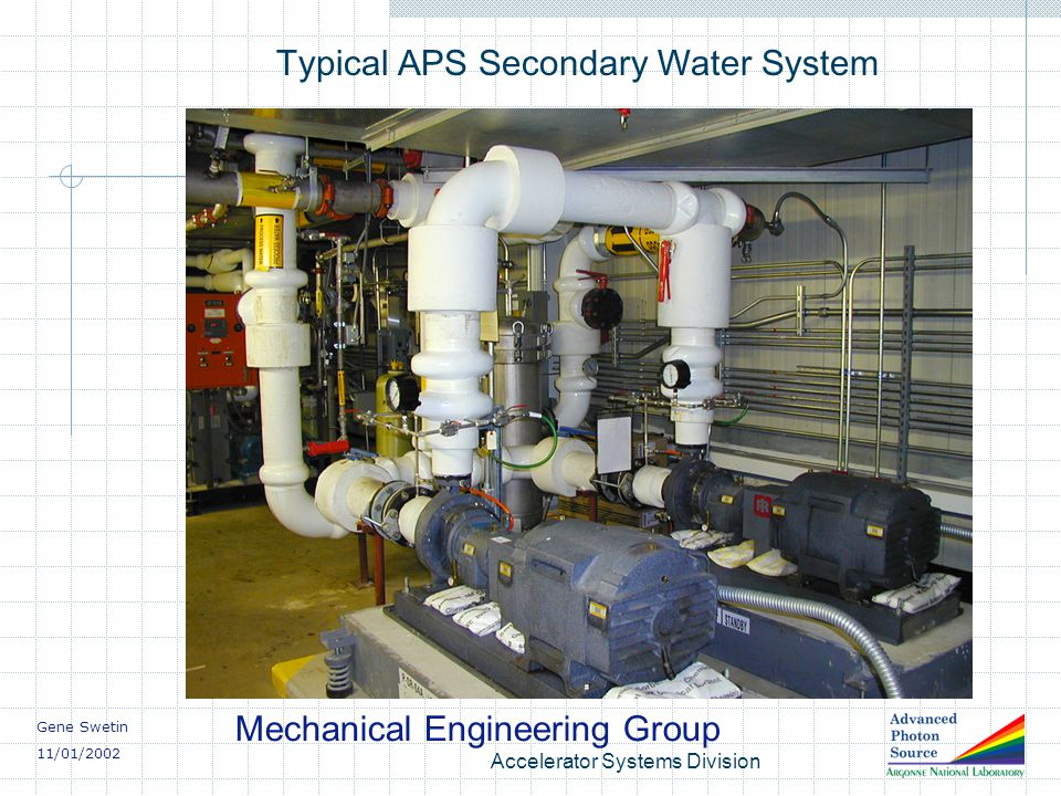 Gene Swetin 11/01/2002 Mechanical Engineering Group Accelerator Systems Division Typical APS Secondary Water System