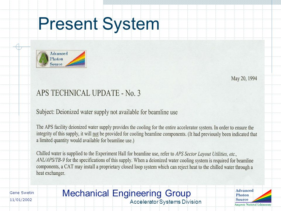 Gene Swetin 11/01/2002 Mechanical Engineering Group Accelerator Systems Division Present System