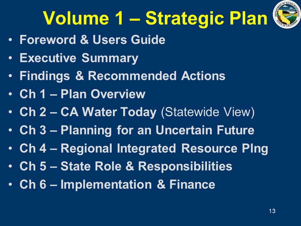 13 Volume 1 – Strategic Plan Foreword & Users Guide Executive Summary Findings & Recommended Actions Ch 1 – Plan Overview Ch 2 – CA Water Today (State