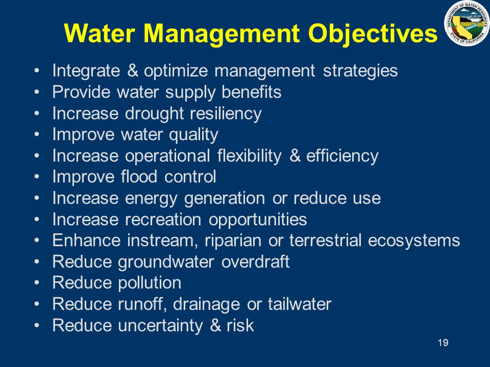 19 Water Management Objectives Integrate & optimize management strategies Provide water supply benefits Increase drought resiliency Improve water qual