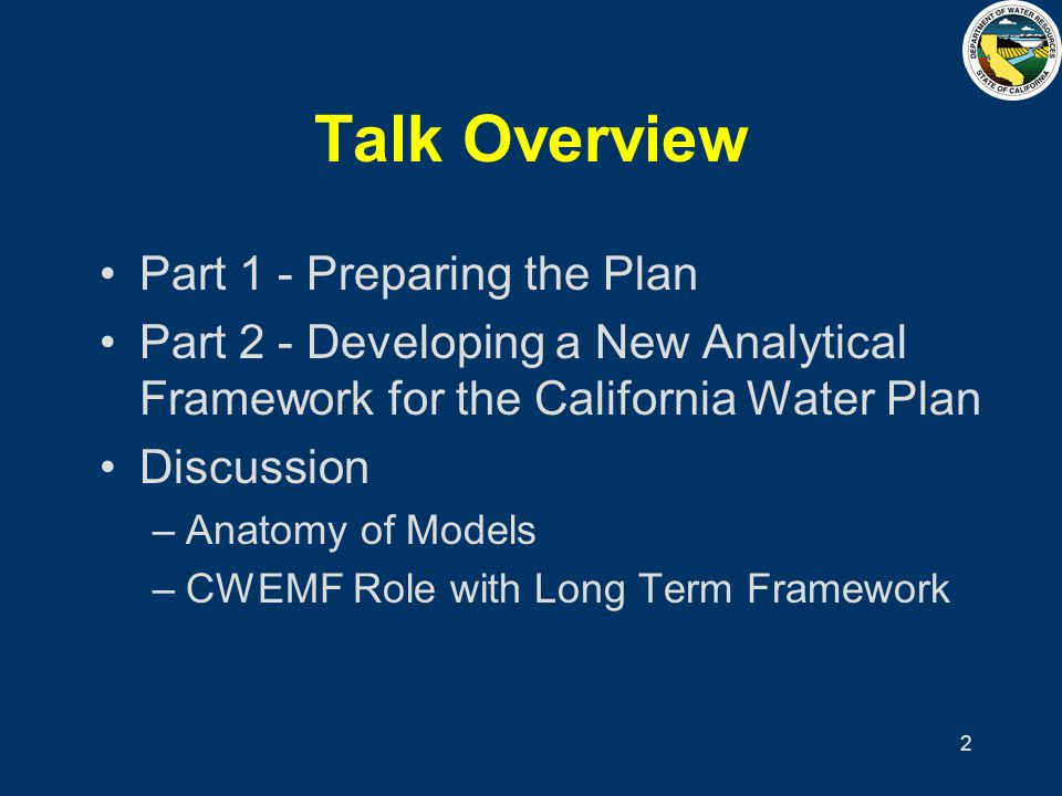 13 Volume 1 – Strategic Plan Foreword & Users Guide Executive Summary Findings & Recommended Actions Ch 1 – Plan Overview Ch 2 – CA Water Today (Statewide View) Ch 3 – Planning for an Uncertain Future Ch 4 – Regional Integrated Resource Plng Ch 5 – State Role & Responsibilities Ch 6 – Implementation & Finance