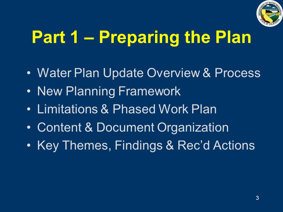 4 Water Plan Overview Program 10 > 1 of 6 DWR Goals Required by law (Water Code) First Water Plan -Bulletin 3 (1957) Seven Updates (Bulletin 160) Update every five years –Last in 1998Next in 2003 States Master or Strategic Plan