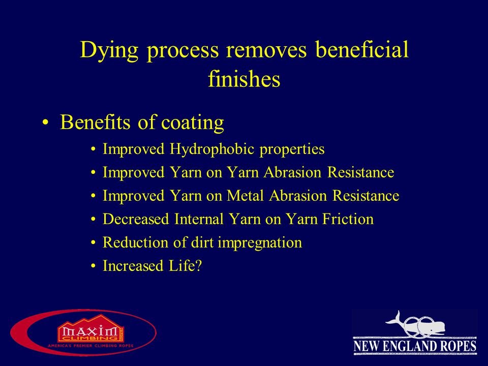 Dying process removes beneficial finishes Benefits of coating Improved Hydrophobic properties Improved Yarn on Yarn Abrasion Resistance Improved Yarn on Metal Abrasion Resistance Decreased Internal Yarn on Yarn Friction Reduction of dirt impregnation Increased Life