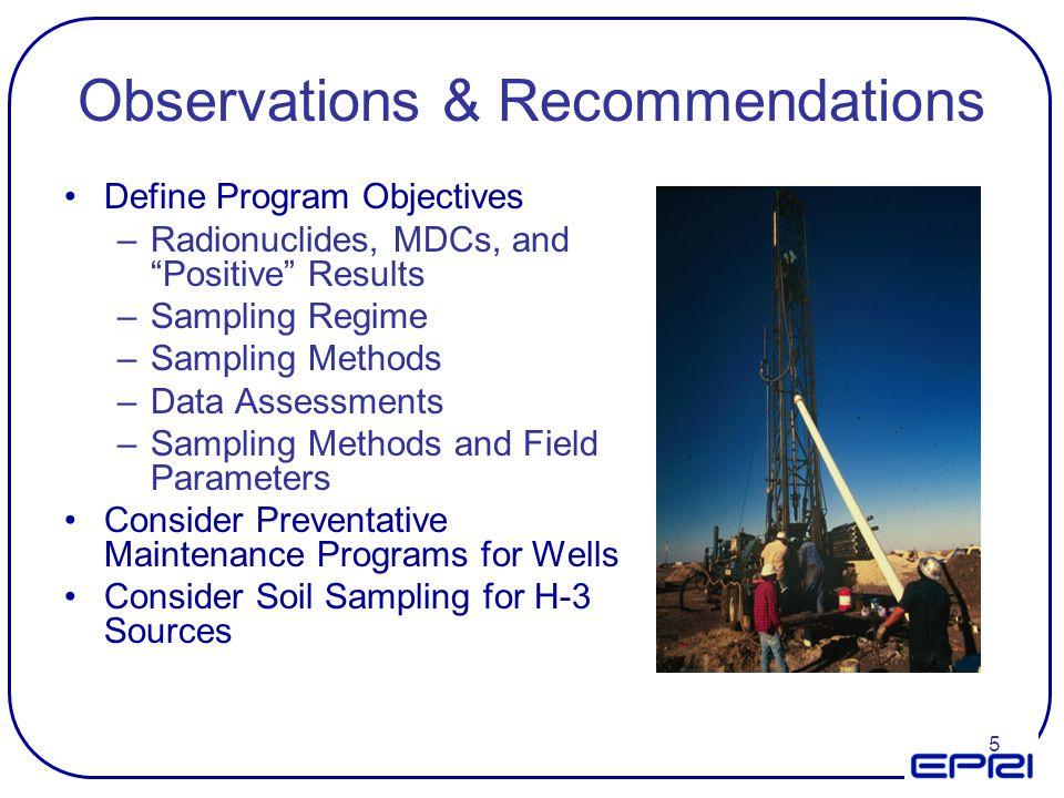 5 Observations & Recommendations Define Program Objectives –Radionuclides, MDCs, and Positive Results –Sampling Regime –Sampling Methods –Data Assessm