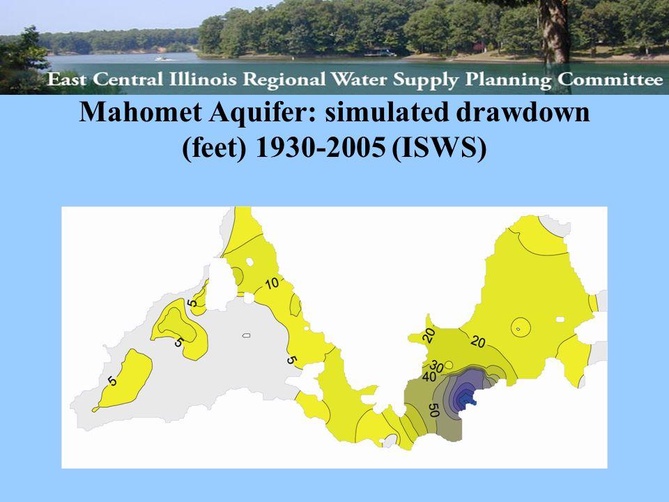 Mahomet Aquifer: simulated drawdown (feet) 1930-2005 (ISWS)
