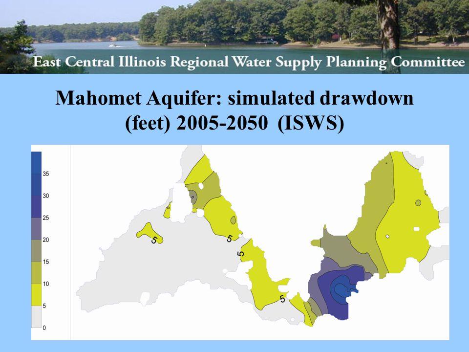 Mahomet Aquifer: simulated drawdown (feet) 2005-2050 (ISWS)
