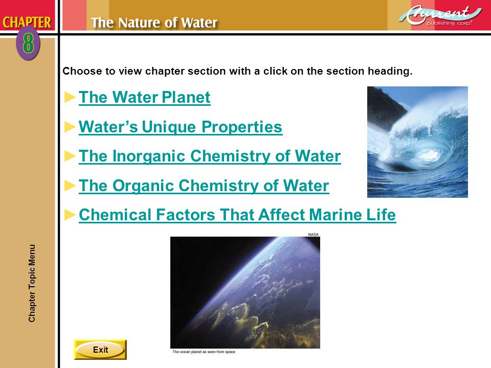 Exit Choose to view chapter section with a click on the section heading.
