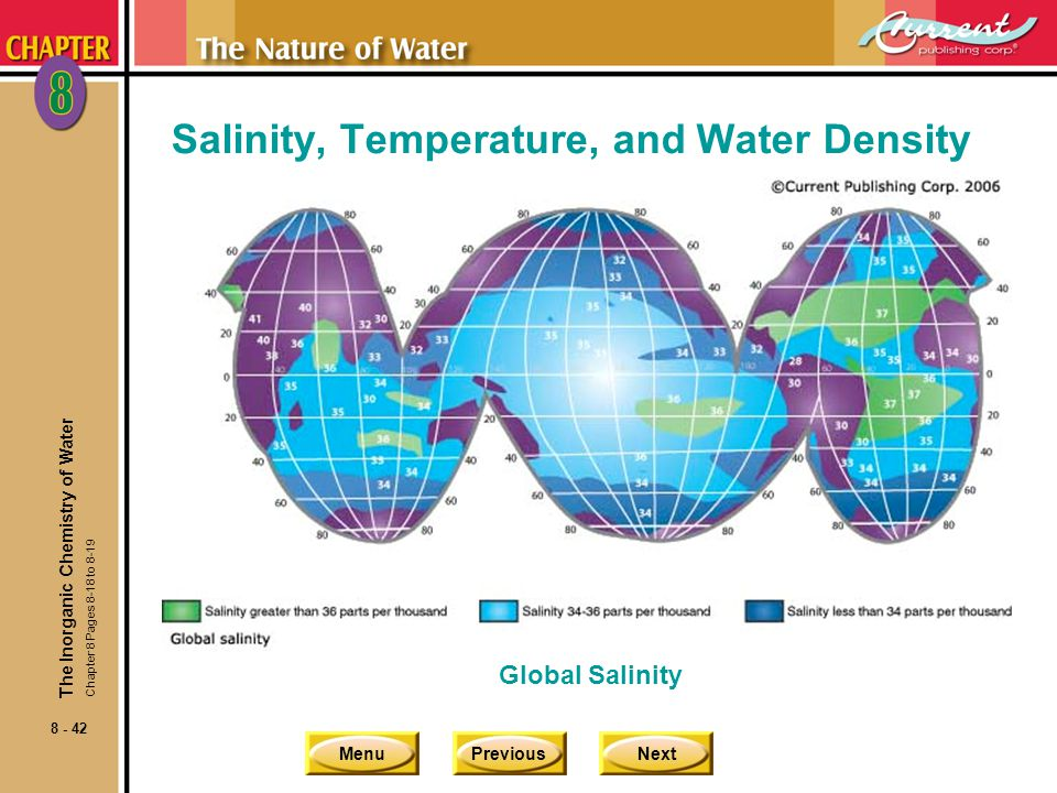 MenuPreviousNext 8 - 42 Salinity, Temperature, and Water Density The Inorganic Chemistry of Water Global Salinity Chapter 8 Pages 8-18 to 8-19