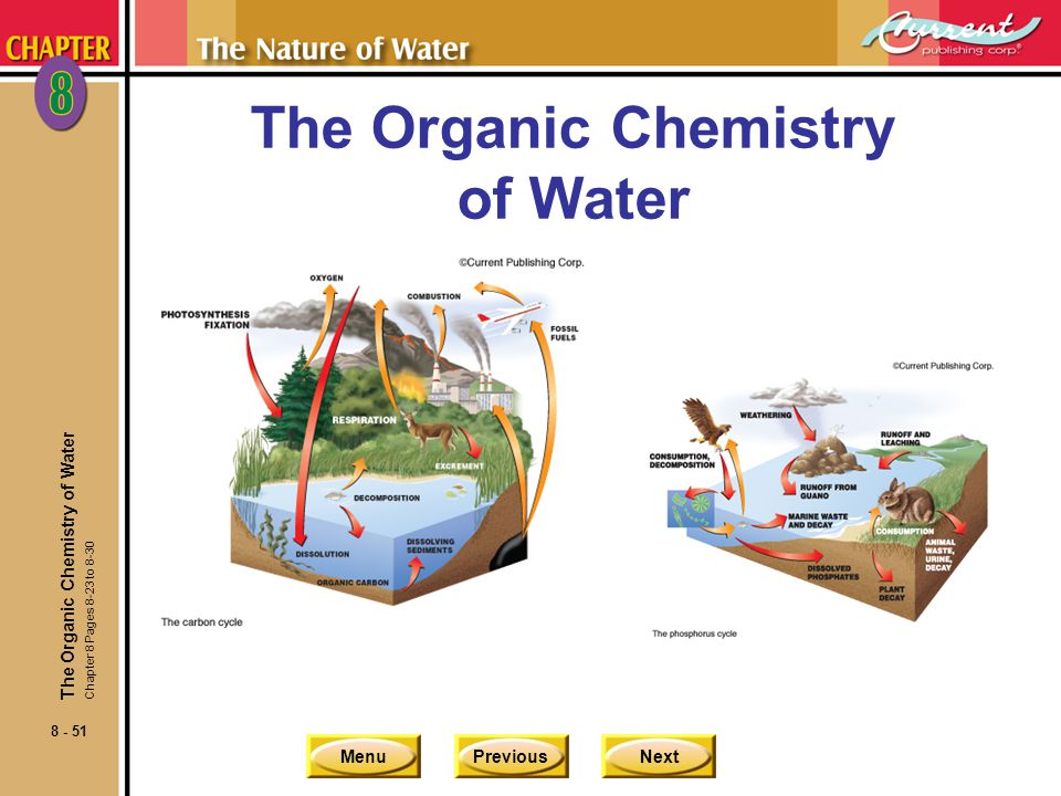 MenuPreviousNext 8 - 51 The Organic Chemistry of Water Chapter 8 Pages 8-23 to 8-30