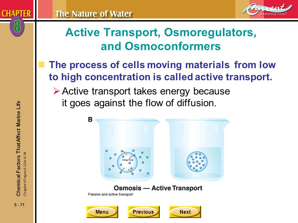 MenuPreviousNext 8 - 71 Active Transport, Osmoregulators, and Osmoconformers nThe process of cells moving materials from low to high concentration is