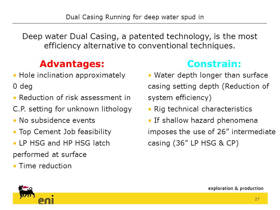 Dual Casing Running for deep water spud in 26 Operating time during riserless phase (drilling pilot hole and running BOP not included)