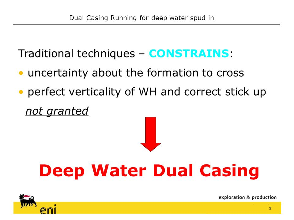 Dual Casing Running for deep water spud in 4 Conventional technique Drill 36 hole Drill 36 hole Run and cement Run and cement 30 CP 30 CP Drill 26 hol