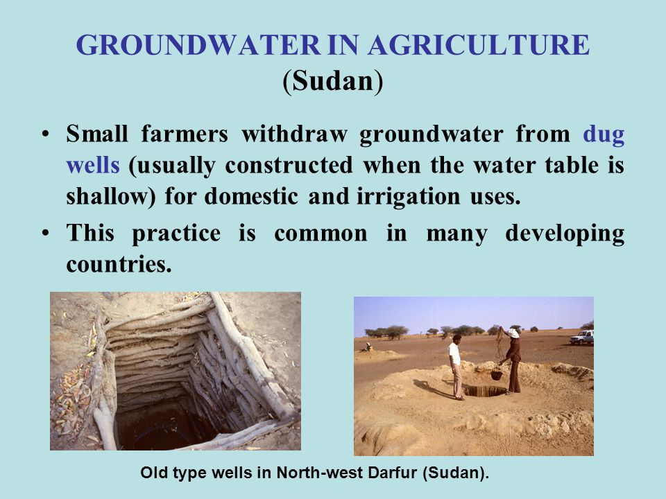 GROUNDWATER IN AGRICULTURE (2/6) (Egypt) Beside the natural springs (more than 200) the source of groundwater is from three aquifers: the upper limestone aquifer (shallow, 15-95 m deep), the lower limestone aquifer (70-130 m) the Nubian Sandstone aquifer (900-1050 m below ground surface).