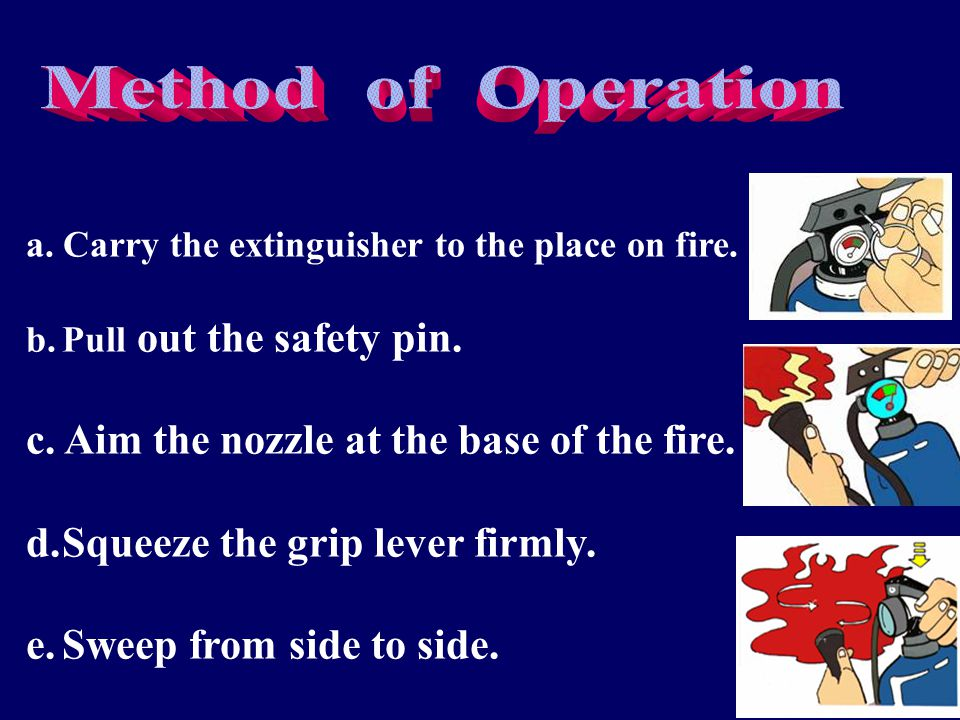 a. Carry the extinguisher to the place on fire. b.Pull out the safety pin. c. Aim the nozzle at the base of the fire. d.Squeeze the grip lever firmly.