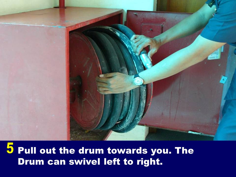 Pull out the drum towards you. The Drum can swivel left to right.