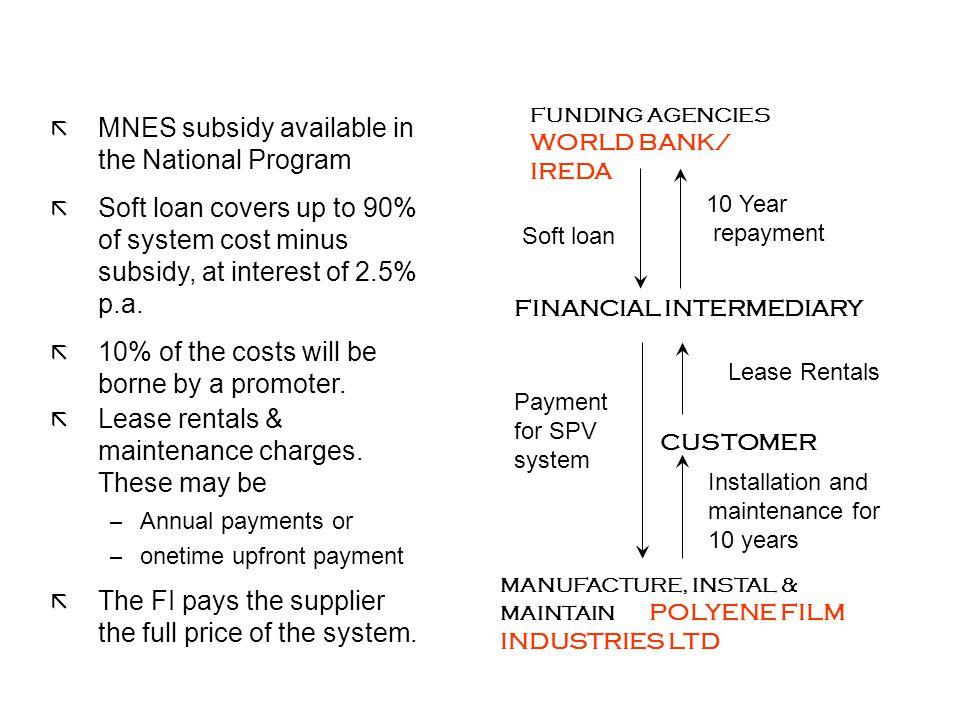 MANUFACTURE, INSTAL & MAINTAIN POLYENE FILM INDUSTRIES LTD FINANCIAL INTERMEDIARY FUNDING AGENCIES WORLD BANK/ IREDA CUSTOMER Soft loan 10 Year repaym