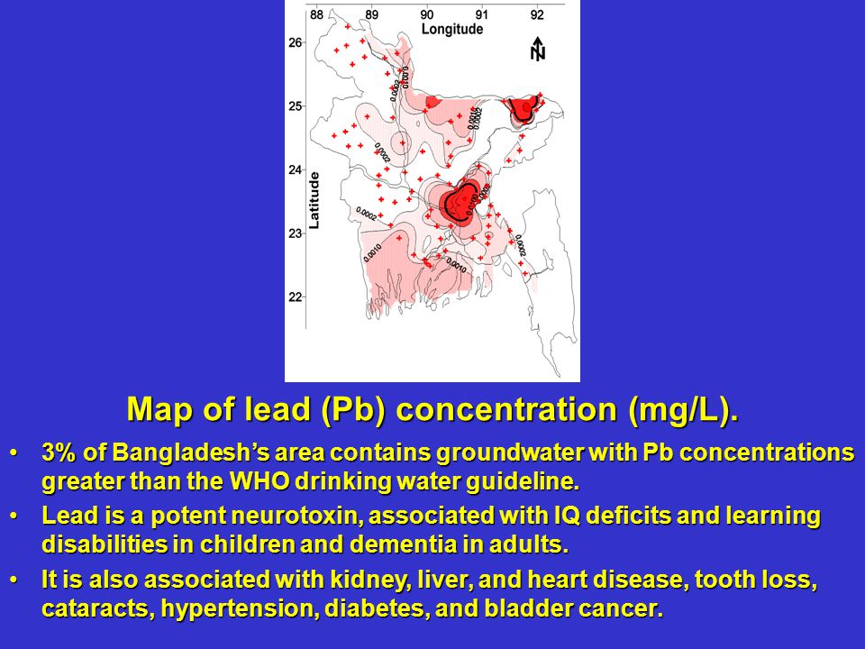 3% of Bangladeshs area contains groundwater with Pb concentrations greater than the WHO drinking water guideline.3% of Bangladeshs area contains groundwater with Pb concentrations greater than the WHO drinking water guideline.