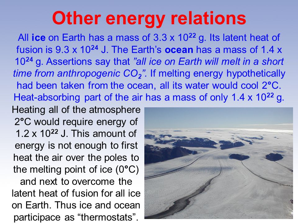 Other energy relations All ice on Earth has a mass of 3.3 x 10 22 g.