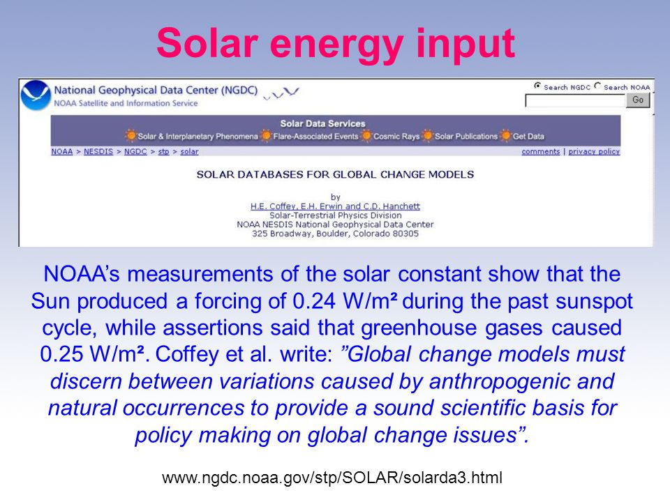 Solar energy input NOAAs measurements of the solar constant show that the Sun produced a forcing of 0.24 W/m² during the past sunspot cycle, while assertions said that greenhouse gases caused 0.25 W/m².