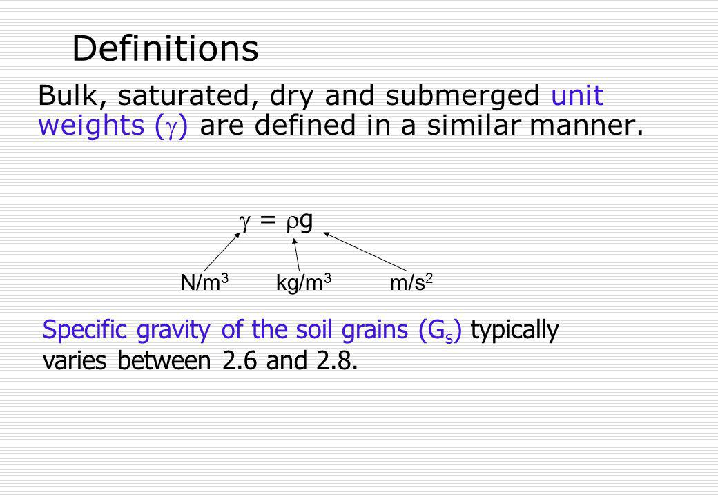 Definitions Bulk, saturated, dry and submerged unit weights () are defined in a similar manner. = g Specific gravity of the soil grains (G s ) typical
