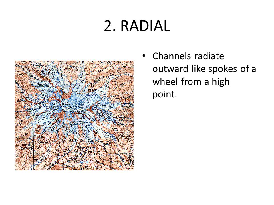 2. RADIAL Channels radiate outward like spokes of a wheel from a high point.