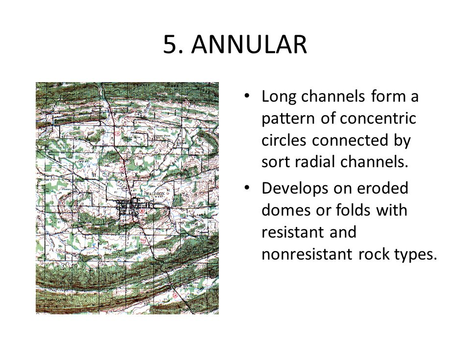 5. ANNULAR Long channels form a pattern of concentric circles connected by sort radial channels. Develops on eroded domes or folds with resistant and