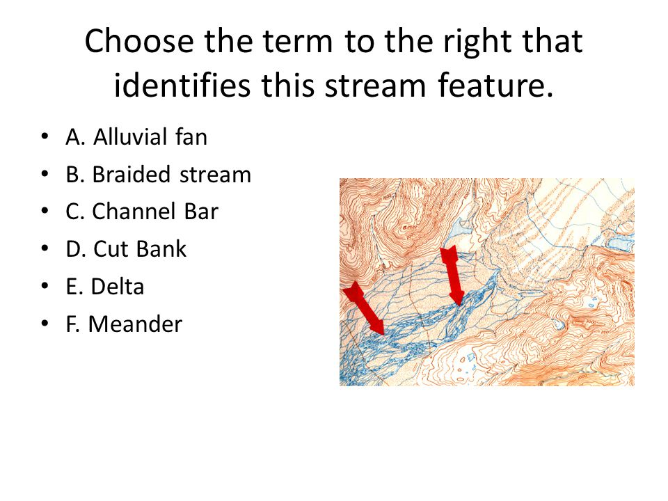 Choose the term to the right that identifies this stream feature. A. Alluvial fan B. Braided stream C. Channel Bar D. Cut Bank E. Delta F. Meander