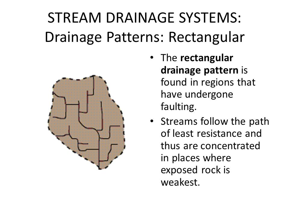 STREAM DRAINAGE SYSTEMS: Drainage Patterns: Rectangular The rectangular drainage pattern is found in regions that have undergone faulting. Streams fol