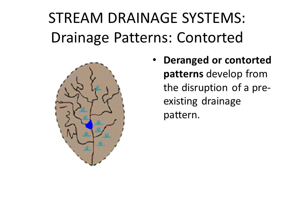 STREAM DRAINAGE SYSTEMS: Drainage Patterns: Contorted Deranged or contorted patterns develop from the disruption of a pre- existing drainage pattern.