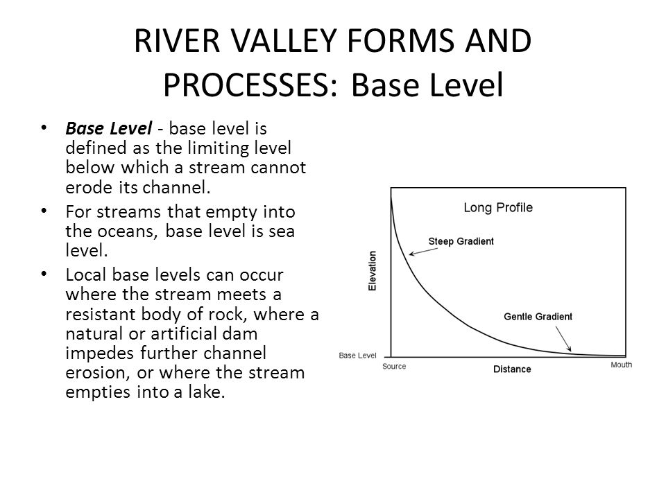 RIVER VALLEY FORMS AND PROCESSES: Base Level Base Level - base level is defined as the limiting level below which a stream cannot erode its channel. F
