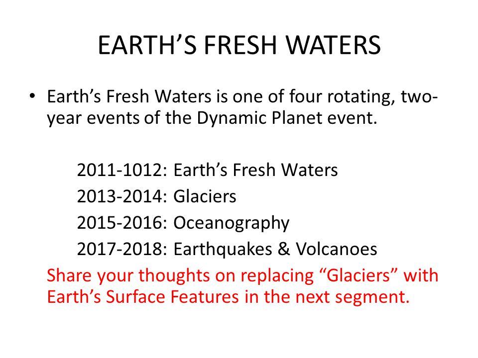 EARTHS FRESH WATERS 4.REPRESENTATIVE TASKS: a.