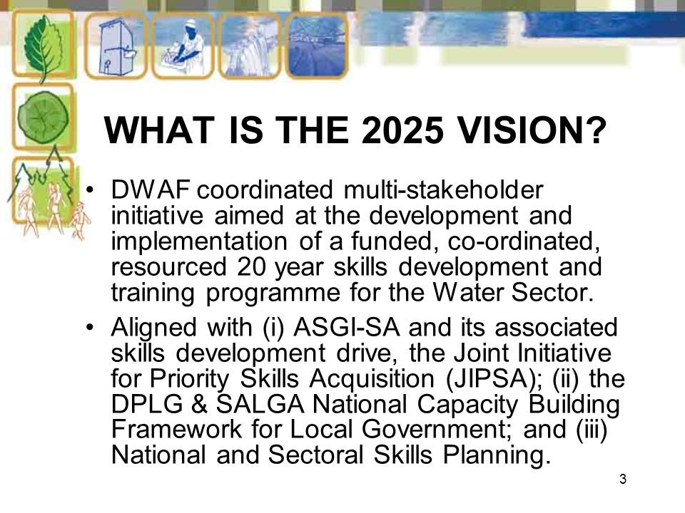 3 WHAT IS THE 2025 VISION? DWAF coordinated multi-stakeholder initiative aimed at the development and implementation of a funded, co-ordinated, resour