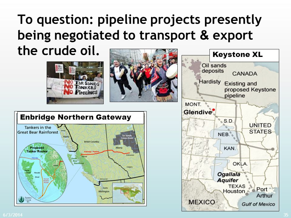 To question: pipeline projects presently being negotiated to transport & export the crude oil. 6/3/201435 Enbridge Northern GatewayKeystone XL
