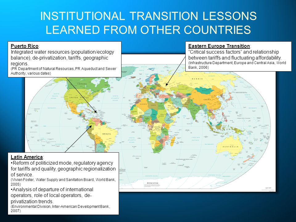 INSTITUTIONAL TRANSITION LESSONS LEARNED FROM OTHER COUNTRIES Eastern Europe Transition: Critical success factors and relationship between tariffs and fluctuating affordability.