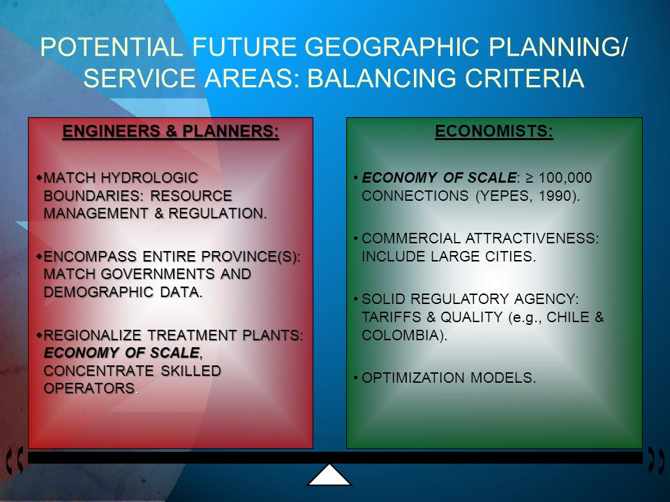 POTENTIAL FUTURE GEOGRAPHIC PLANNING/ SERVICE AREAS: BALANCING CRITERIA ENGINEERS & PLANNERS: MATCH HYDROLOGIC BOUNDARIES: RESOURCE MANAGEMENT & REGULATION.
