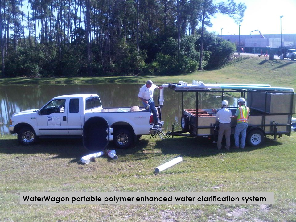 Polymer charged jute matting is spread after the discharge point of the WaterWagon to capture the fine sediment that has not settled out of the water column.