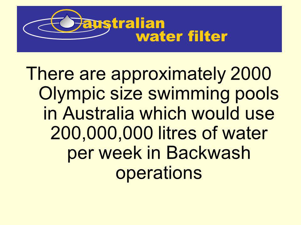 water filter australian There are approximately 2000 Olympic size swimming pools in Australia which would use 200,000,000 litres of water per week in