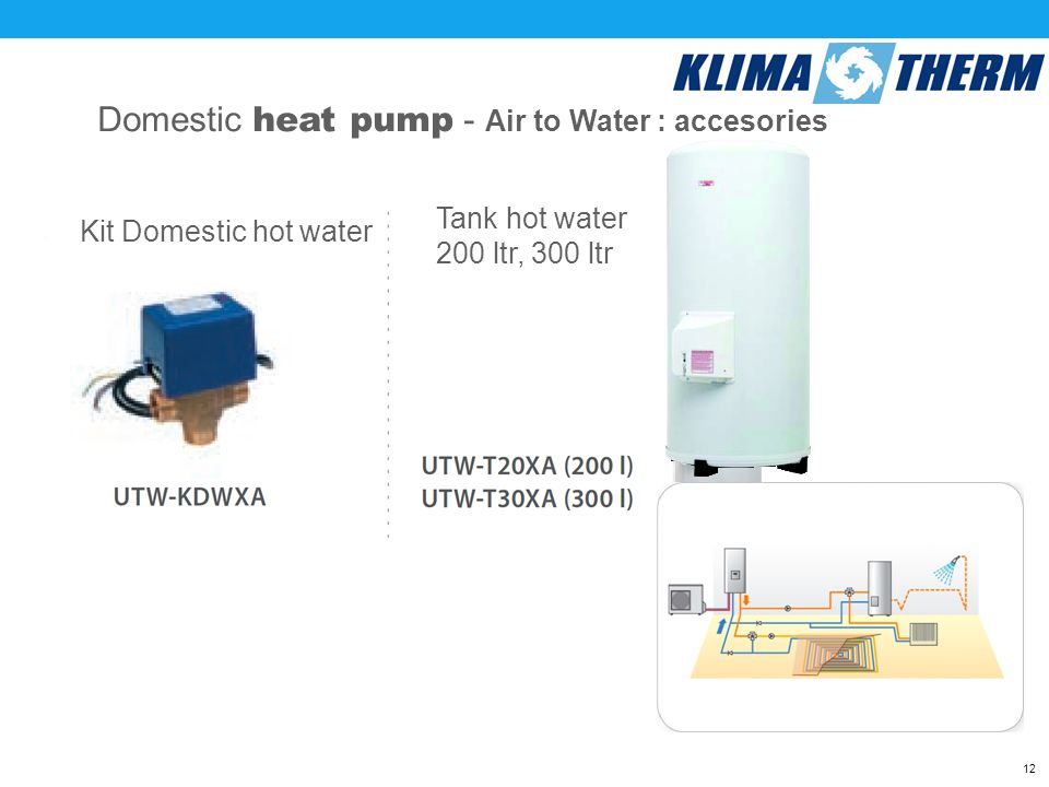 1212 Domestic heat pump - Air to Water : accesories Kit Domestic hot water Tank hot water 200 ltr, 300 ltr