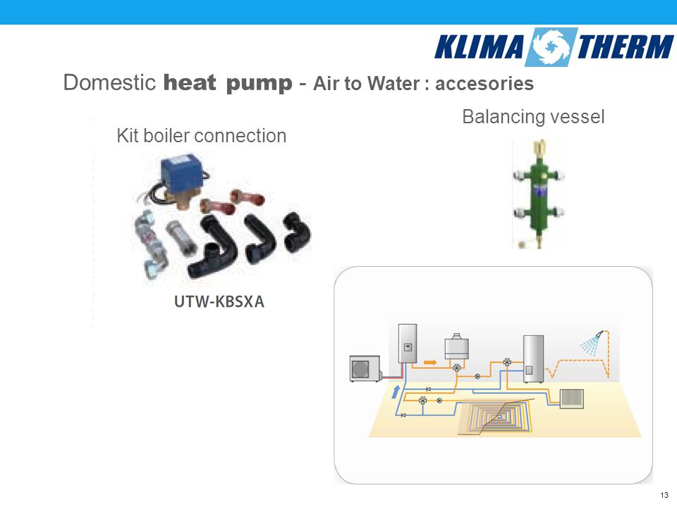 13 Domestic heat pump - Air to Water : accesories Kit boiler connection Balancing vessel