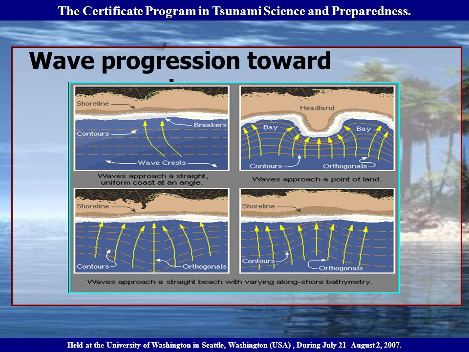 Wave progression toward shore The Certificate Program in Tsunami Science and Preparedness.