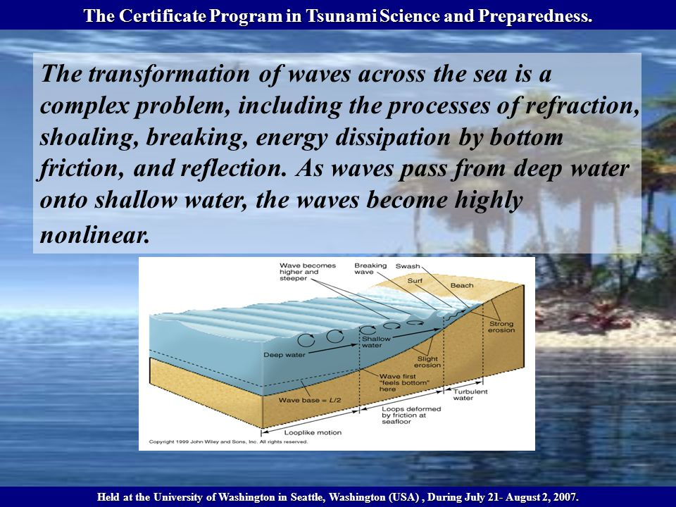Wave energy is dissipated due to breaking, but energy is also transferred to both higher and lower frequencies in the wave spectrum, and the spectral shape becomes flat The Certificate Program in Tsunami Science and Preparedness.