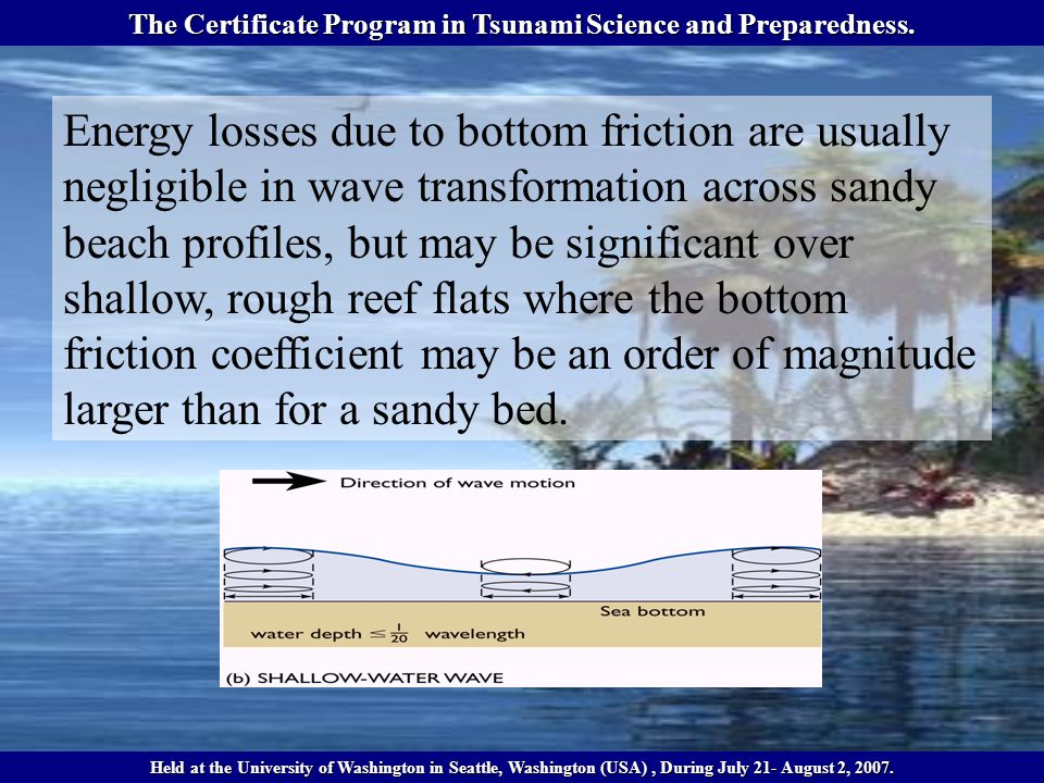Transformation of Shallow-water Waves As waves enter shallow water –Wavelength shortens –Height increases –Speed decreases The Certificate Program in Tsunami Science and Preparedness.