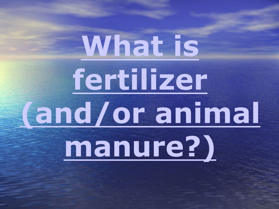 What is fertilizer (and/or animal manure )
