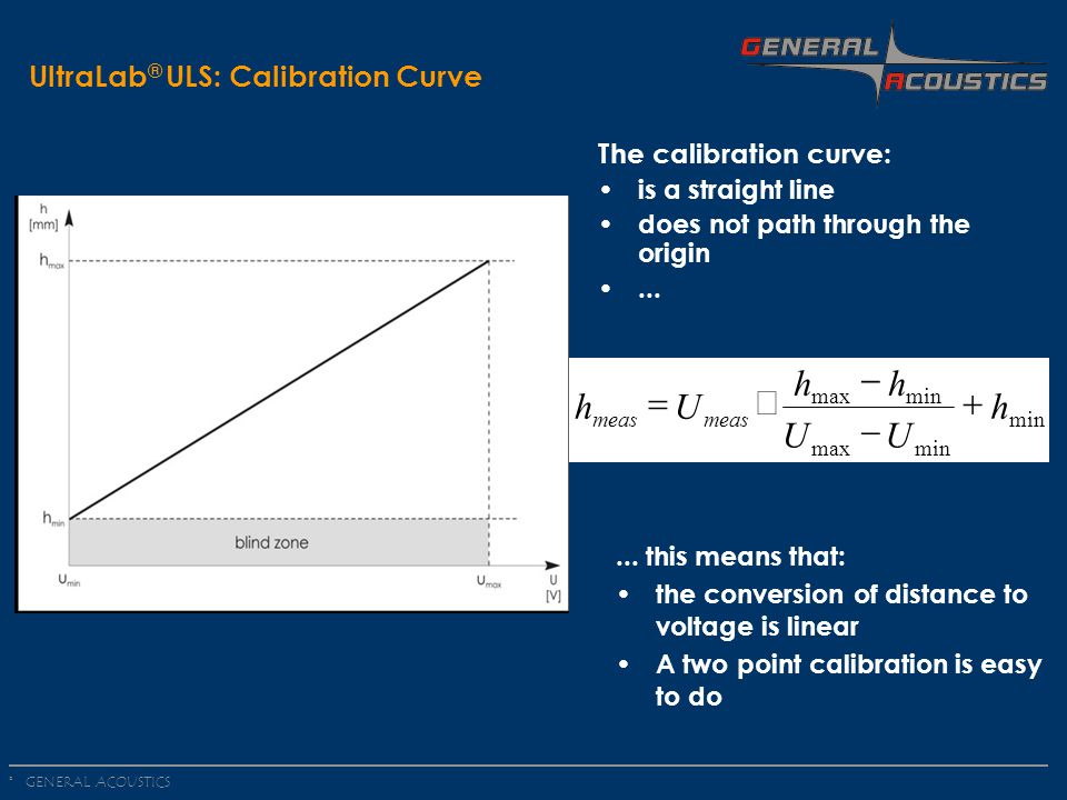 GENERAL ACOUSTICS © UltraLab ® ULS: Calibration Curve The calibration curve: is a straight line does not path through the origin...