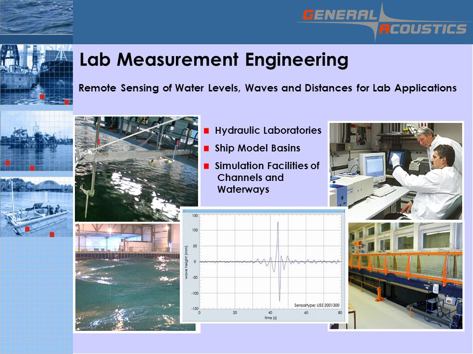GENERAL ACOUSTICS © Lab Measurement Engineering Remote Sensing of Water Levels, Waves and Distances for Lab Applications Hydraulic Laboratories Ship Model Basins Simulation Facilities of Channels and Waterways