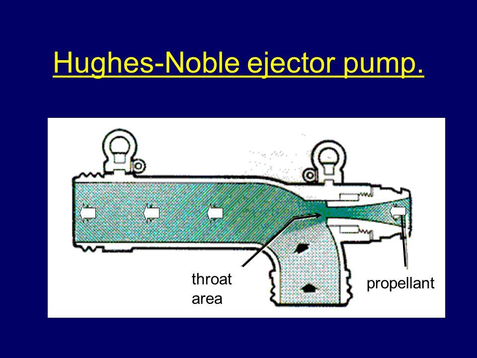 Hughes-Noble ejector pump. propellant throat area